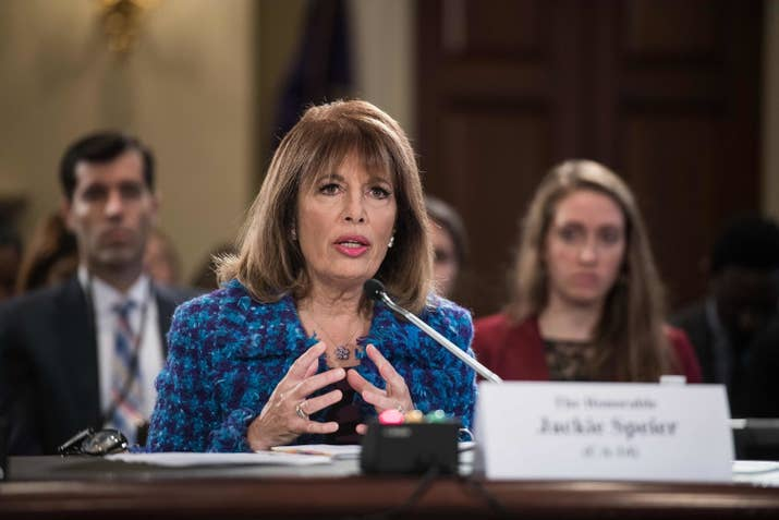 Rep. Jackie Speier speaks during a House Administration Committee hearing on preventing sexual harassment in the congressional workplace, November 14.