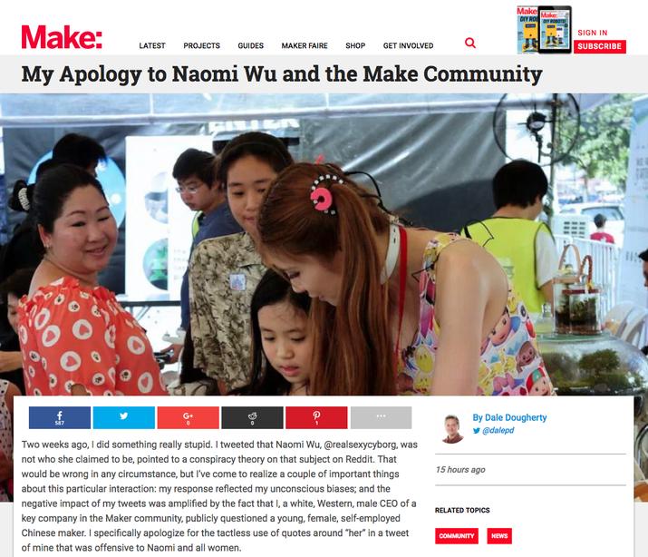 публикация аудита разнообразия «Make and assembly» консультационных советов для работы с организаторами «Maker Faire» для обеспечения того, чтобы события были представителями всего сообщества. Он добавил, что Ву будет приглашен участвовать в любом консультативном совете для проведения мероприятий в Китае.