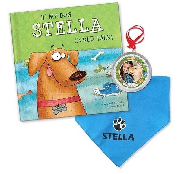 22bac88302b9 A hardcover storybook set with a custom-made bandana and matching ornament,  all created in the likeness of their pup, to let storytime become a  personalized ...