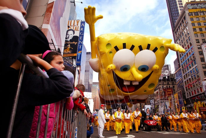 The SpongeBob SquarePants balloon makes its way down Broadway for its first appearance in the Macy's Thanksgiving Day Parade in New York City on Nov. 25, 2004.
