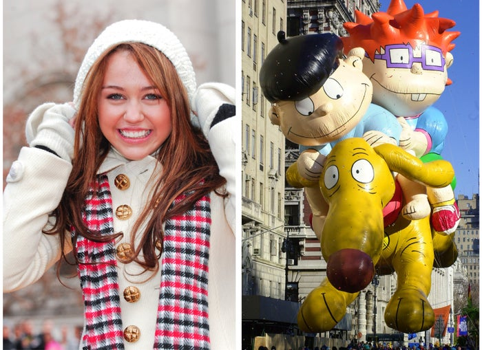 Left: Miley Cyrus waves to onlookers in 2008. Right: The Rugrats balloon floats down Broadway in 2000.