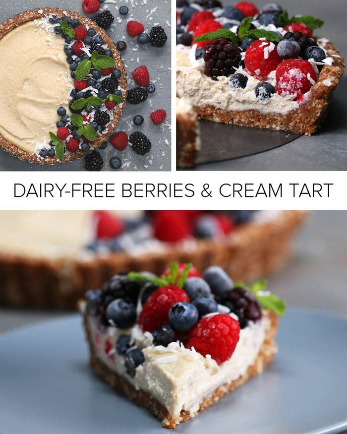 Servings: 6-8INGREDIENTSCrust1½ cups raw almonds1 cup fresh, soft medjool dates ½ teaspoon saltFilling1½ cups raw cashews, soaked in water overnight½ cup coconut milk ¼ cup maple syrup1 tablespoon coconut oil, melted1 teaspoon lemon juice2 teaspoon vanilla extractToppingRaspberries, to decorateBlueberries, to decorateBlackberries, to decorateMint, to decorateCoconut flakes, to decoratePREPARATION1. In the bowl of a food processor, add the almonds, dates, and salt, and pulse until the almonds are finely chopped and the mixture holds together when pressed between your fingers. 2. With wet hands, transfer the crust mixture into a 9-inch tart pan, gently pressing an even layer on the bottom and sides of the pan. Transfer the crust to the freezer.3. Add the soaked cashews, coconut milk, maple syrup, coconut oil, lemon juice, and vanilla extract to the bowl of a food processor and pulse until smooth, scraping down the sides of the bowl as needed. 4. Pour the filling into the frozen crust and use a spatula to create an even surface. 5. Decorate the top with raspberries, blueberries, blackberries, mint leaves, and coconut flakes. 6. Refrigerate tart for at least one hour.7. Enjoy!