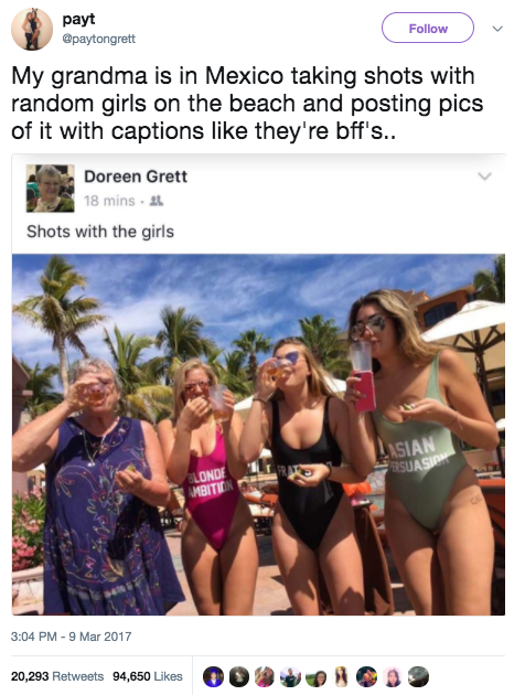 """This grandma, who posted a pic of her taking """"shots with the girls."""""""
