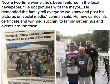 This grandpa — he won a zucchini contest and now demands his family to always take pics of him