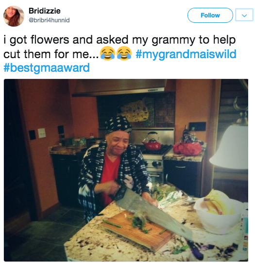 This grandma, who's actually using a table saw to cut vegetables: