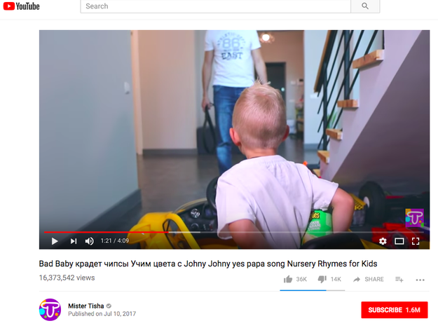 "A recurring series of videos from Mister Tisha includes the keywords ""Bad Baby"" and involves a child disobeying an adult. The adult is often seen holding a belt when he discovers the child."