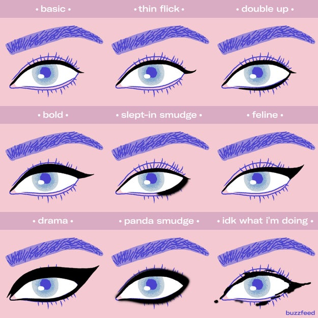 And experiment with different eyeliner styles.