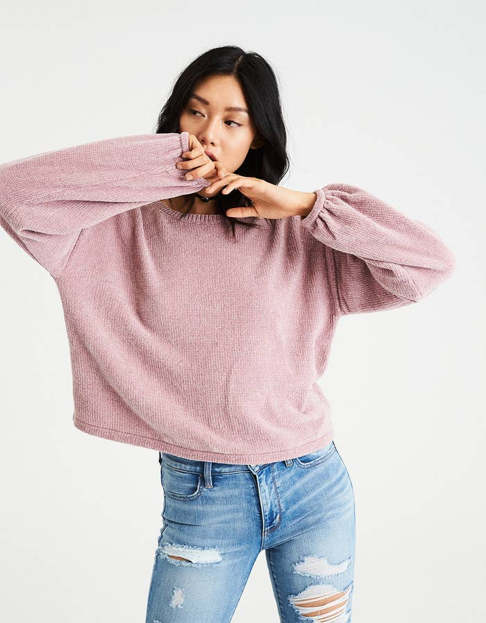 9f44de2eab7 A chenille balloon-sleeve sweater in everyone s favorite shade of  millennial pink.