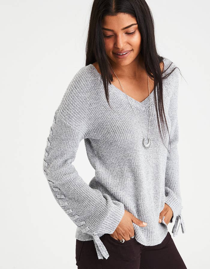 8502f7c8a9d 14. A chic and simple tie-sleeve V-neck sweater you ll 100% wear on repeat.