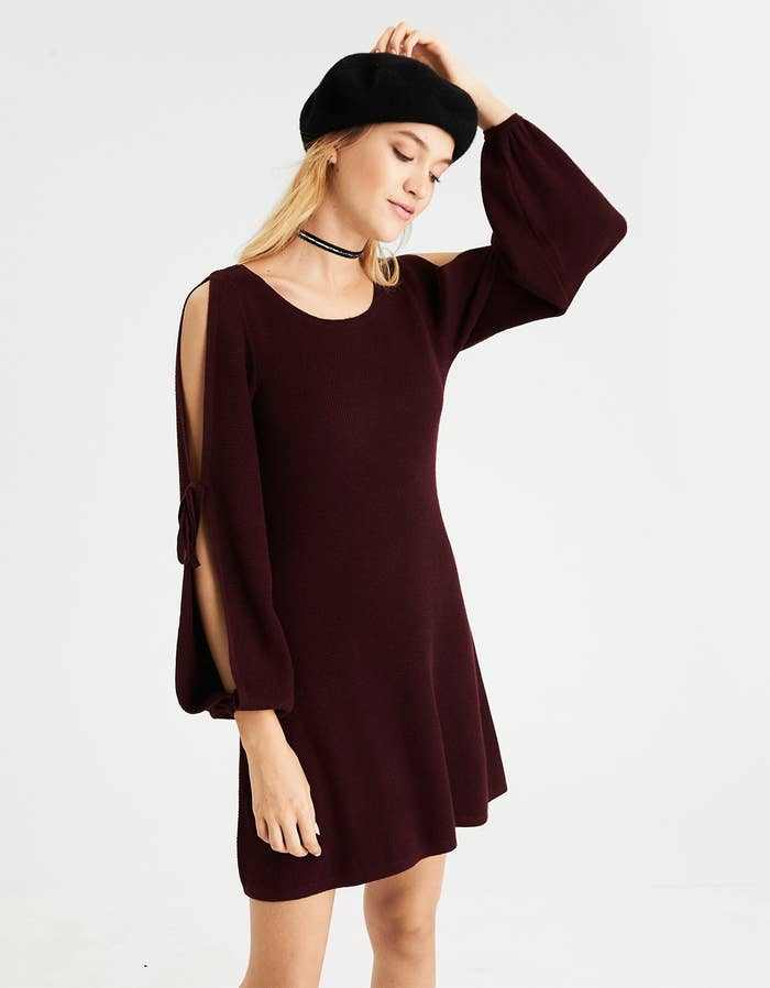 f5e942f1675 A split-sleeve sweater dress perfect for family gatherings. It s pretty
