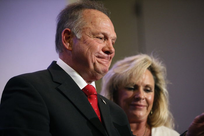 US Senate candidate Roy Moore with his wife, Kayla Moore.