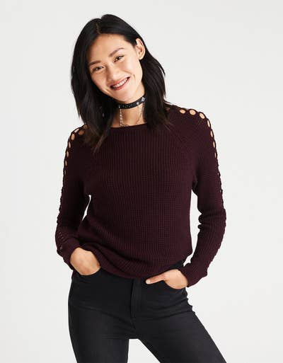 f573ffc4682 A waffle-knit sweater with netted sleeves for an autumnal alternative to  cold-shoulder tops.