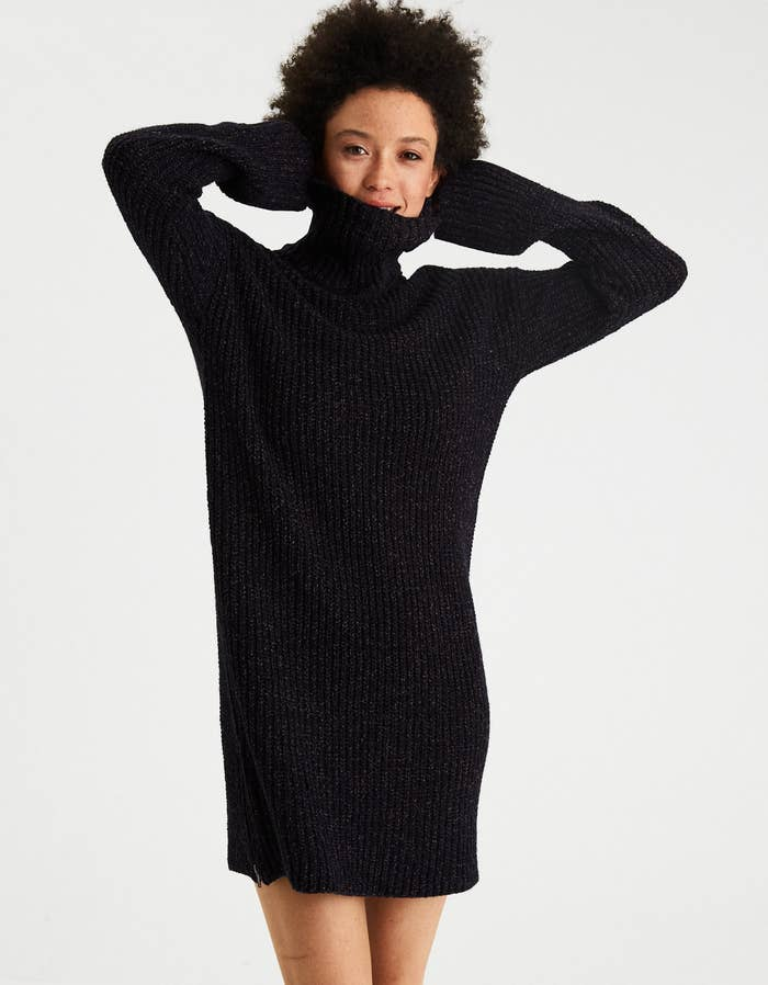 b54b759b991 A ribbed turtleneck sweater dress that honestly looks like something Audery  Hepburn would wear.