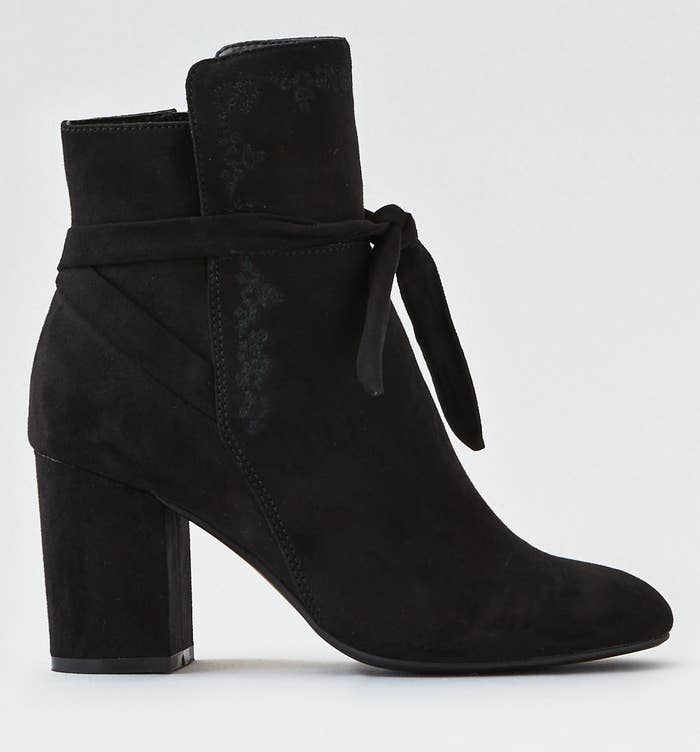 b00598c13e9 A pair of faux-suede booties that ll go with literally everything in your  closet.