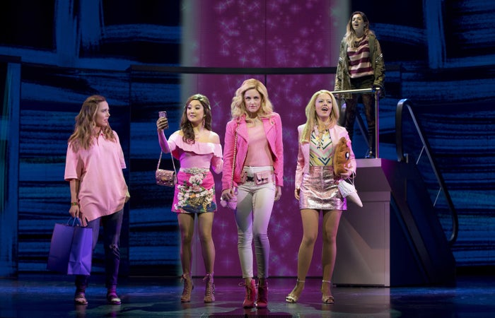 Cady (Erika Henningsen), Gretchen (Ashley Park), Regina (Taylor Louderman), Karen (Kate Rockwell), and Janis (Barrett Wilbert Weed) in Mean Girls.