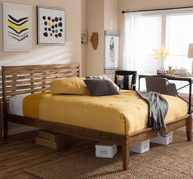 a mid century walnut frame that wont go out of style - Yellow Bed Frame