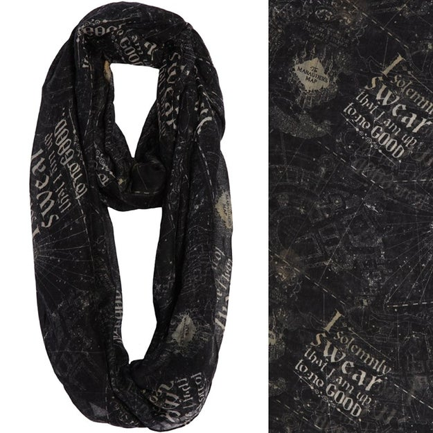...or an infinity scarf featuring The Marauder's Map. Disclaimer: this accessory is always up to no good.