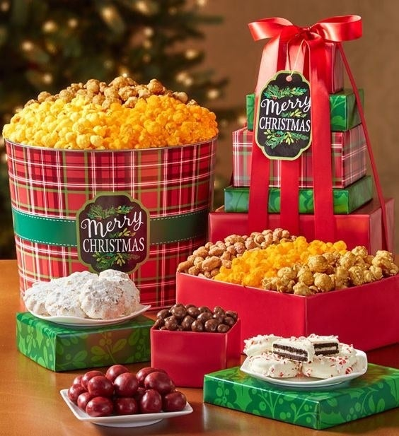 Why it's great: You can choose from a large variety of popcorn flavors and even add in some other kinds of snacks! Gifts we love: Merry Christmas and Happy Holiday Five-tier Tower and Tin for $49.99+ (above), Happy Hanukkah Popcorn Tins for $34.99+, Popcorn Balls for $29.99+, Flavor of the Month Club for $9.99 a month, and Gold Snowflake Ultimate Snack Gift Box for $49.99