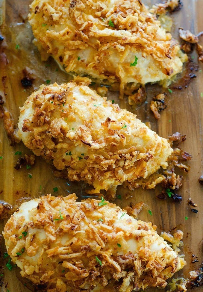 Spice up basic boneless chicken breasts with honey mustard and crushed fried onions. Get the recipe.