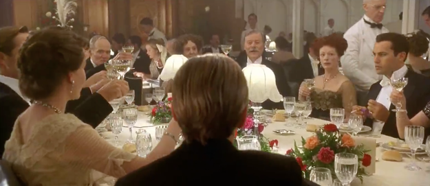 Only real Titanic fans know this is a reference to an earlier scene in the movie where Jack joins the rich folk for dinner and gives a rousing speech about making life count.