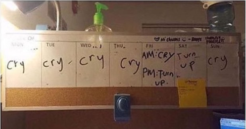 This student, whose schedule perfectly summed up a week in college: