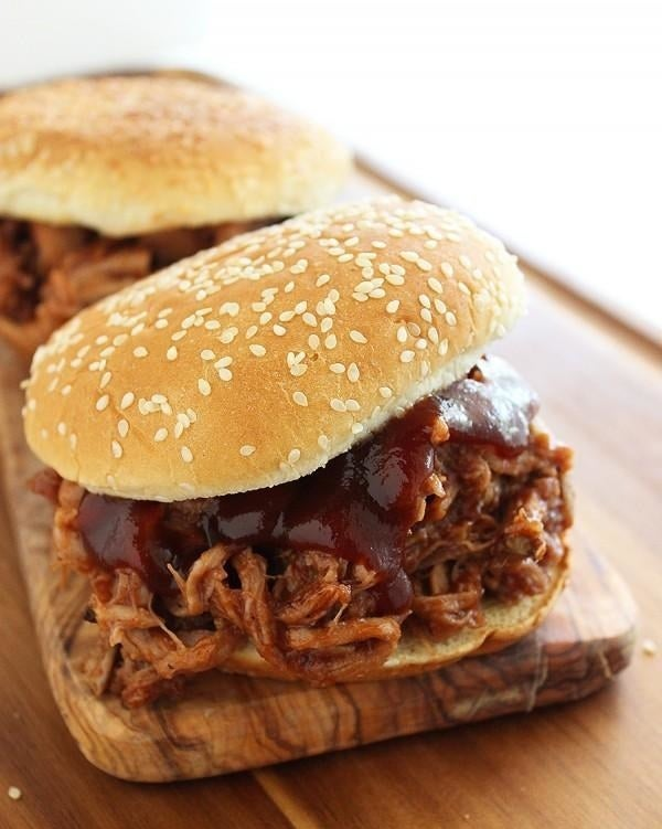 The secret to this sweet and savory, melt-in-your-mouth pulled pork is root beer soda. Get the recipe.