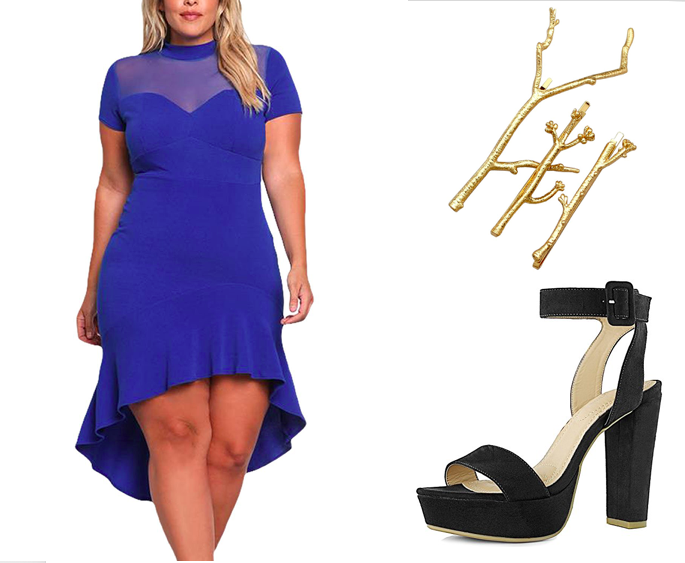 Get the dress for $14.99+ (available in sizes 14-24 and three colors), the hair pins for $8.49+ (available in two colors), and the platform pumps for $14.99+ (available in sizes 5-13 and in six colors).