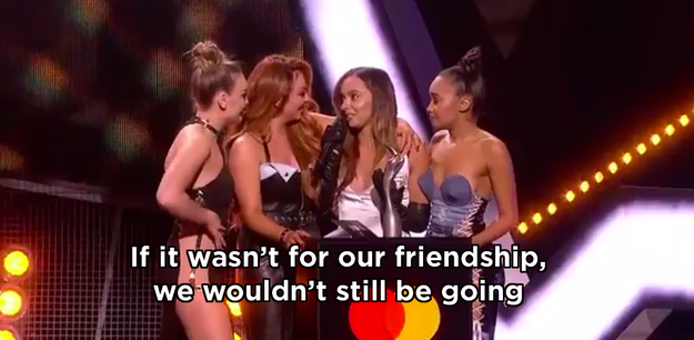 When they won their first Brit Award, and Jade said this during the acceptance speech.