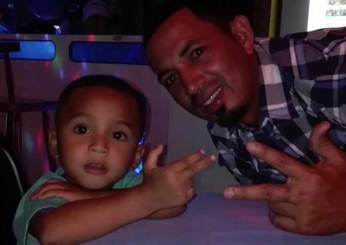 Eric Matute Castro, 33, and his son Royer.
