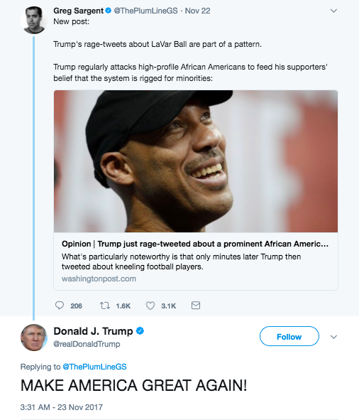 """After Sargent called out the president for race-baiting and """"rage-tweets,"""" Trump actually responded to him with """"MAKE AMERICA GREAT AGAIN!"""""""