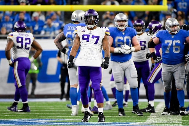 This Thanksgiving was an especially good one for NFL player Everson Griffen, who was crushing it on the field in the Minnesota Vikings vs. Detroit Lions game just hours after his third child was born.