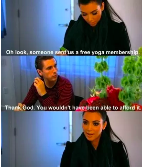 When Scott reminded Kim that she doesn't really need handouts.