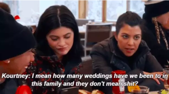 When Kourtney reacted to Rob and Blac Chyna's engagement like this.