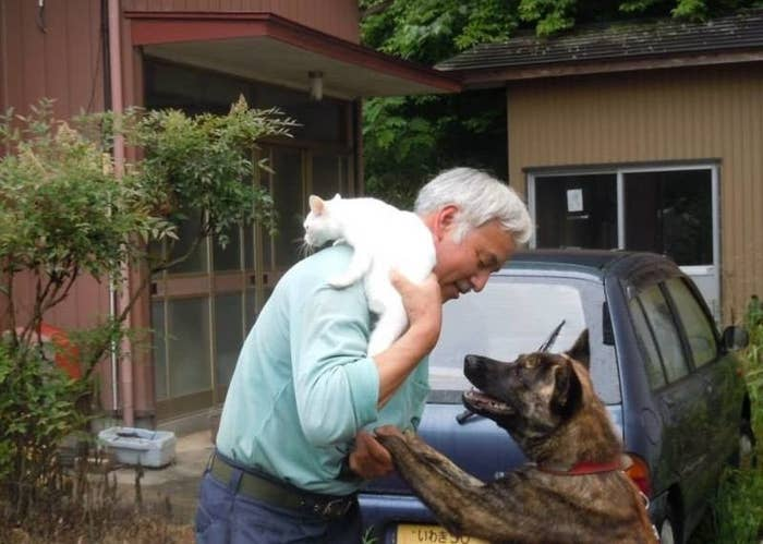 "His name is Naoto Matsumura and he lives in Tomioka. He's the only person left out of an original population of 16,000. His home has no electricity or running water but he cares for dozens of horses, 100 cats, 10 dogs, and an ostrich. He was told that radiation levels would kill him in around 30 years, but he said, ""I'll probably be dead by then anyway."""