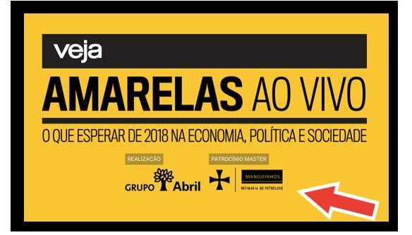"""O logotipo de Manguinhos como """"patrocínio master"""", no site do evento da Veja."""