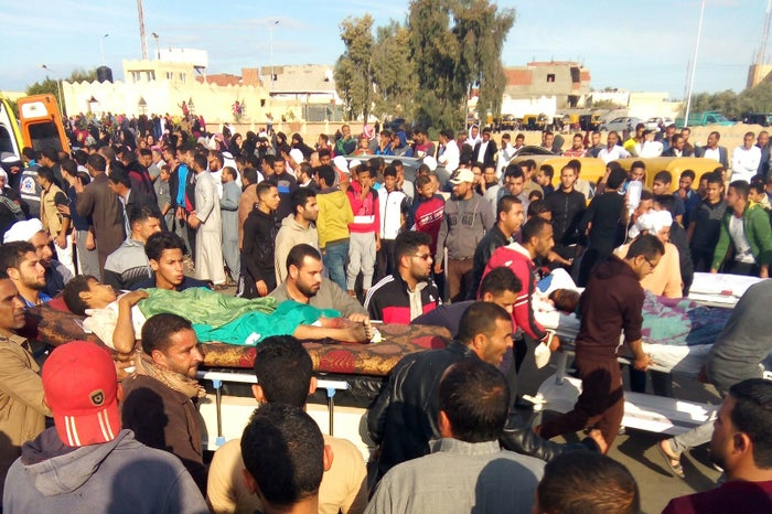Victims were carried on stretchers following the attack.