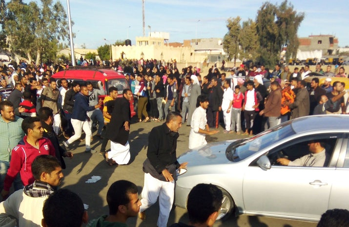 Large crowds gathered after the attack to help victims.