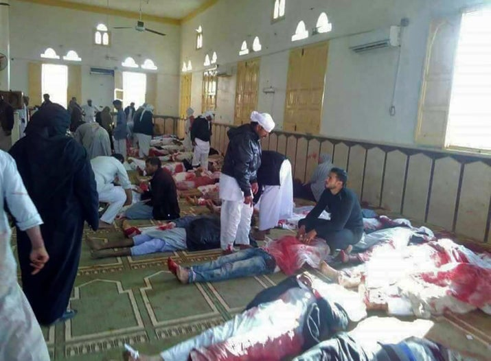 Inside the mosque, bodies of victims were lined up.