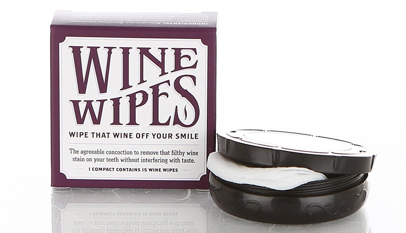 A pack of Wine Wipes that'll magically erase dreaded red wine teeth.