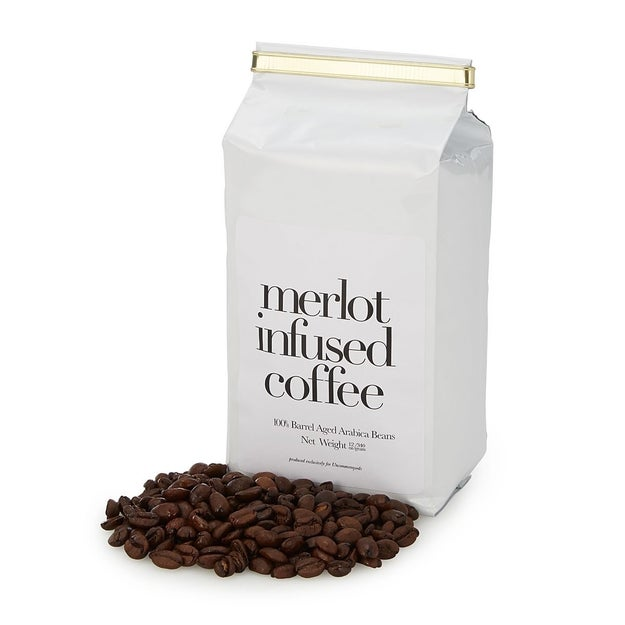 A bag of Merlot infused coffee beans so you never have to choose between the two.