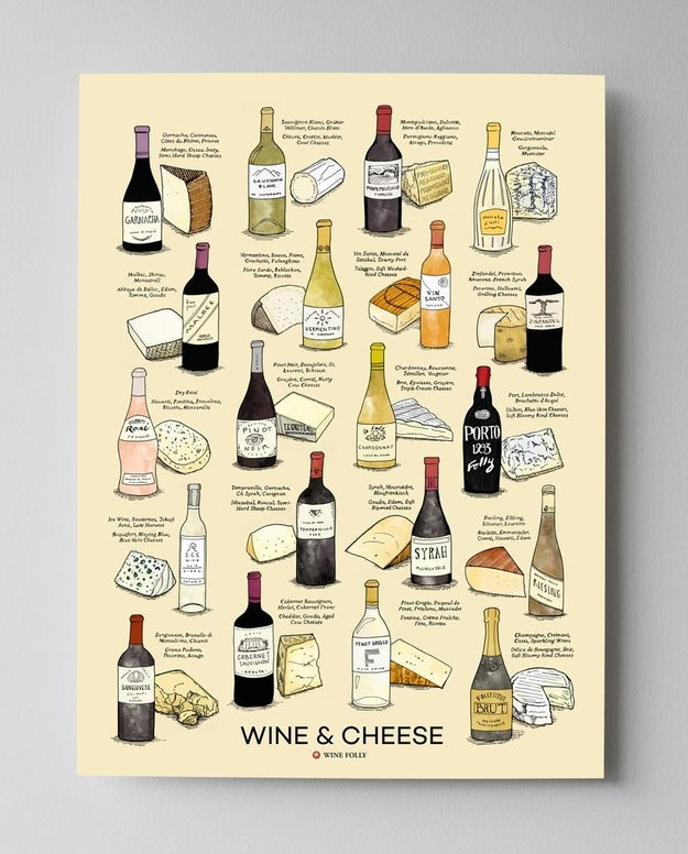 An adorable wine and cheese pairing poster that'll make hosting a breeze.
