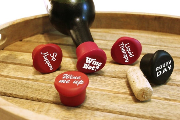 A set of cute wine stoppers that'll preserve a half-finished bottle.