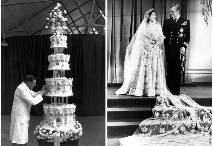 Mr. Schur, chief confectioner at McVitie and Price, puts the final touches on the wedding cake of Princess Elizabeth and Prince Philip, Duke of Edinburgh. The four-tier cake is nine feet high. Princess Elizabeth and Prince Philip, Duke of Edinburgh, pose for photos at Buckingham Palace after their wedding.