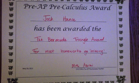 This student, who was given this award: