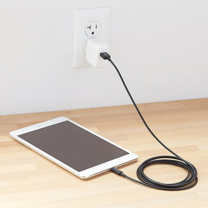 Get a 10-foot cable for iPhone from Amazon for $10.99.Get a 10-foot cable for Android phones from Amazon for $7.99.