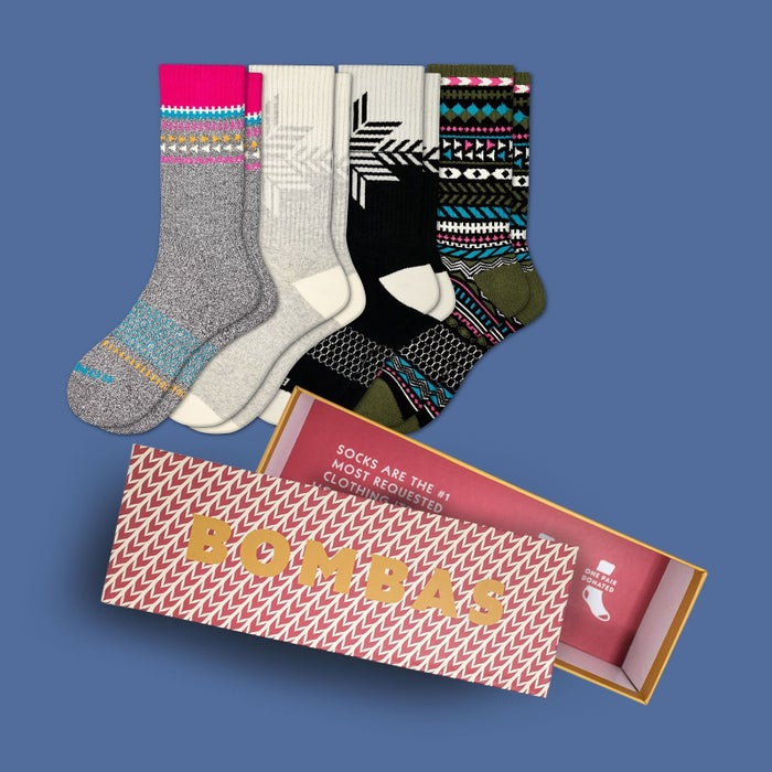 Bombas gives a pair of socks to the homeless with every purchase, with the company's 1 for 1 structure. Learn more about Bomba here.Get them from Bombas: women's gift box for $65, men's gift box for $65, and kid's gift box for $35 (each box comes with four pairs of holiday socks)