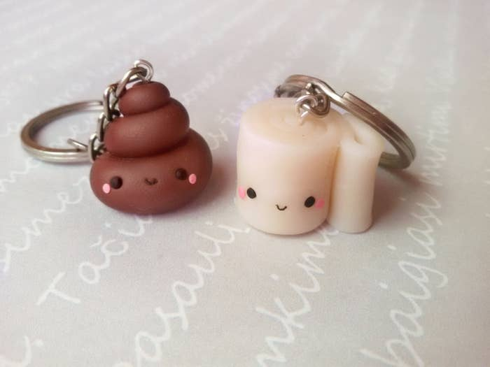 ae45726e1 A pair of matching poop and toilet paper keychains because your friend  isn't above some bathroom humor.
