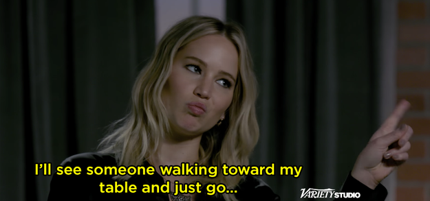 Jen said she'll be like *nope* if you approach her dinner table.