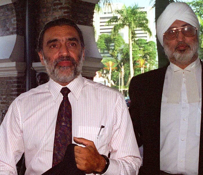 Jagjit Singh (right) with a client in 1998