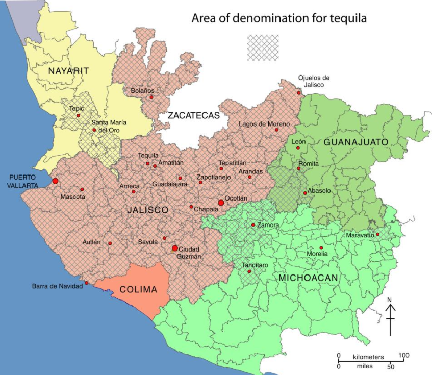 "Tequila has to be made in one of five territories defined by Mexican law in order to legally be considered tequila – otherwise, you're just drinking an ""agave spirit."""